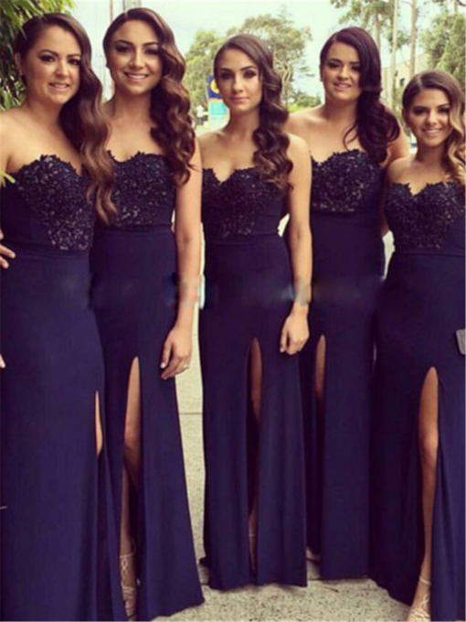 Strapless Split-Front Lace Bridesmaid Dress