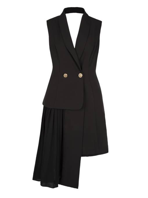 Buttons Lapel Sleeveless Asymmetric Women's Blazer