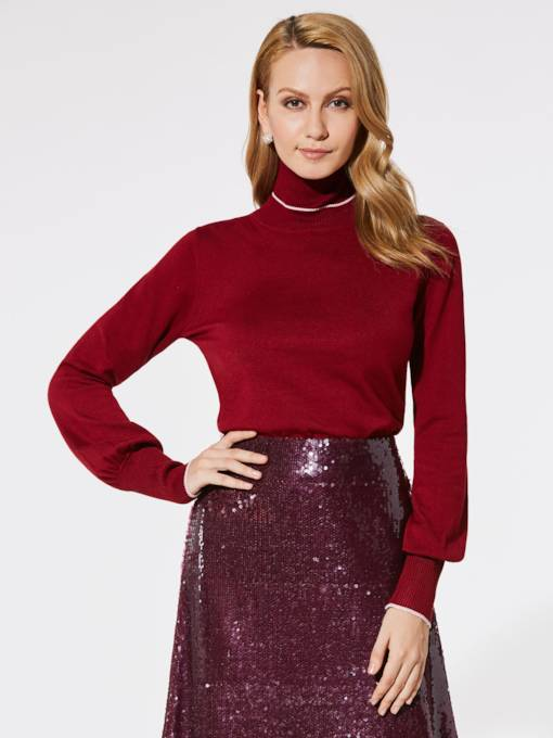 Lantern Sleeve Turtleneck Slim Fit Women's Sweater