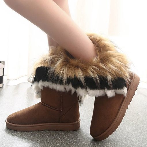 Woollen Plush Flat With Slip On Snow Boots for Women