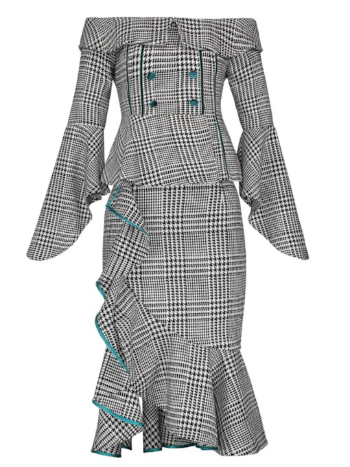 Asymmetrical Slash Neck Plaid Print Women's Two Piece Dress