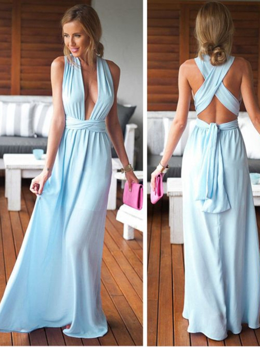 A-Line Halter Pleats Sashes Criss-Cross Straps Prom Dress