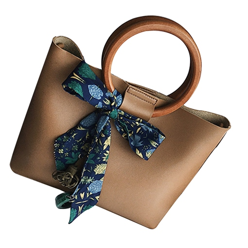 Circular Ring Handle Silk Scarves Decoration Tote