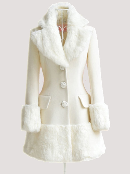 Faux Fur Collar A-Line Button Pocket Women's Overcoat