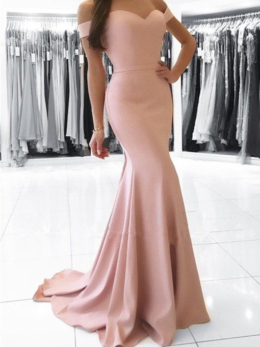Simple Sweetheart Off the Shoulder Mermaid Formal Evening Dress