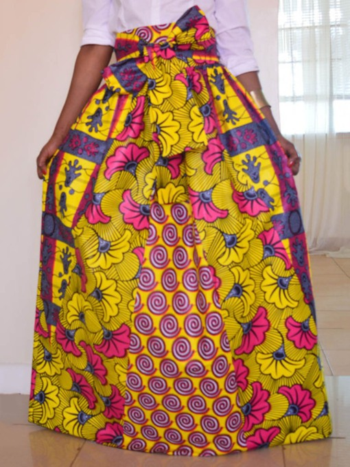 Pleated Dashiki A-Line Bowknot Women's Maxi Skirt