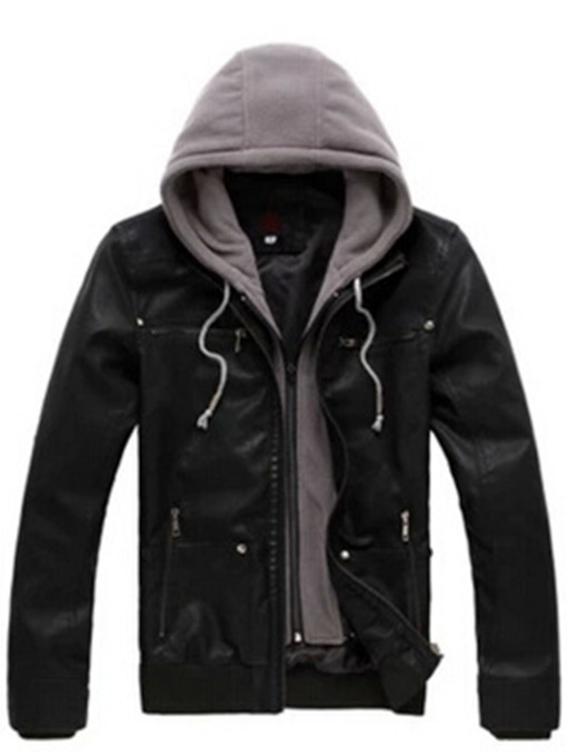 Detachable Hooded Slim Men's Motorcycle Jacket