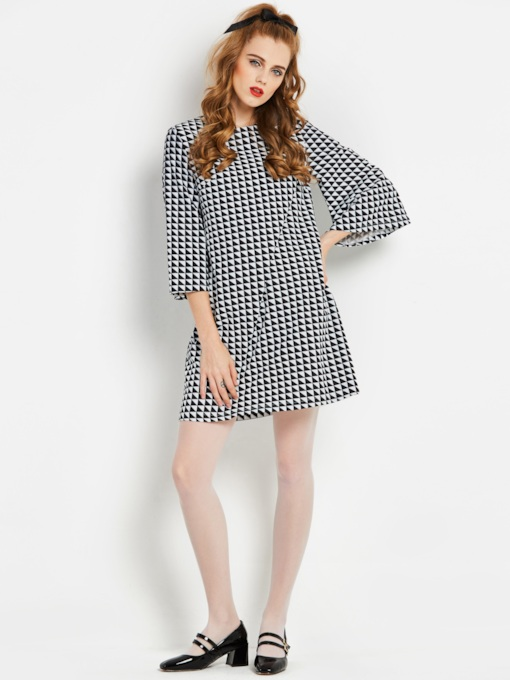 3/4 Sleeve Plaid Straight Women's Day Dress