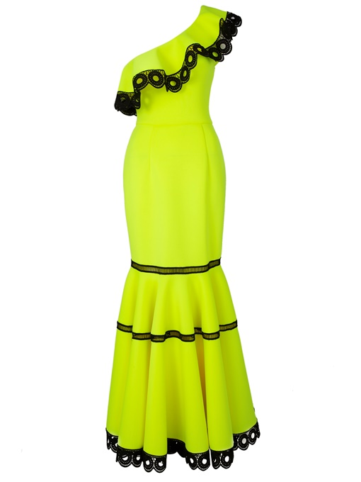 Yellow One Shoulder Fishtail Women's Maxi Dress