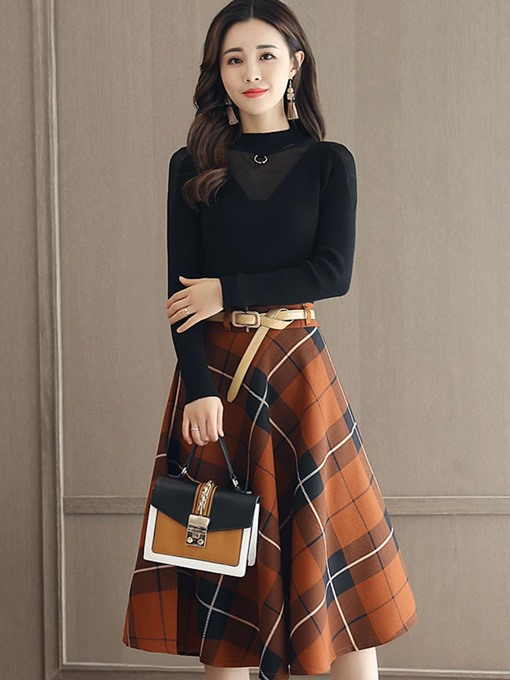 Slim A-Lin Sweater And Skirt Women's Two Piece Dress