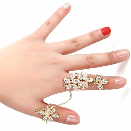 Diamante Flower Link Chain Alloy Knuckle Joint Conjoined Ring