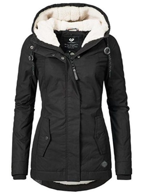 Slim Plain Zipper Hooded Pocket Women's Overcoat