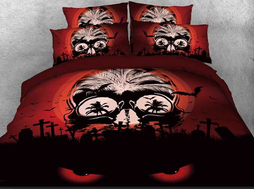Halloween Spooky Skull Printed 4-Piece 3D Bedding Sets/Duvet Covers