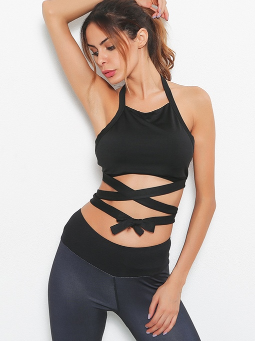 Black Sexy Backless Cross strap Women Sports Bra