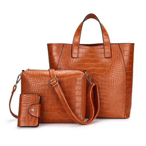 Casual Crocodile Pattern Zipper Women Tote