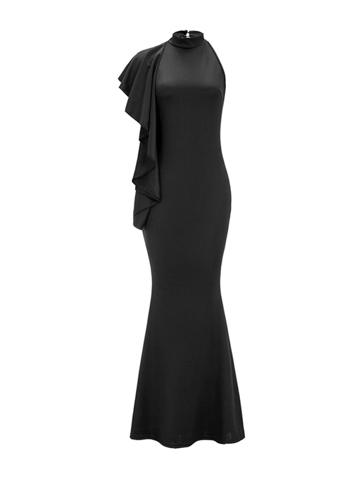 Black Falbala Halter Women's Maxi Dress
