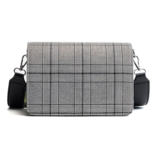 Concise Wide Straps Plaid Cross Body Bag