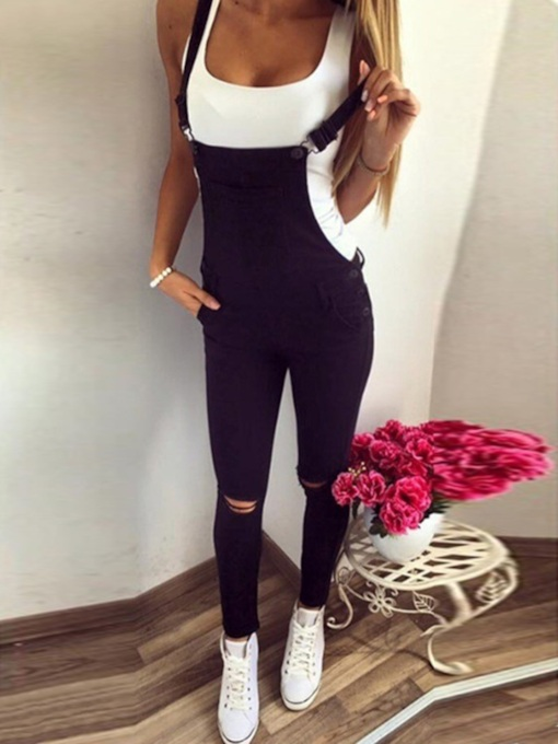 Full Length Plain Button Pencil Pants Women's Jumpsuit