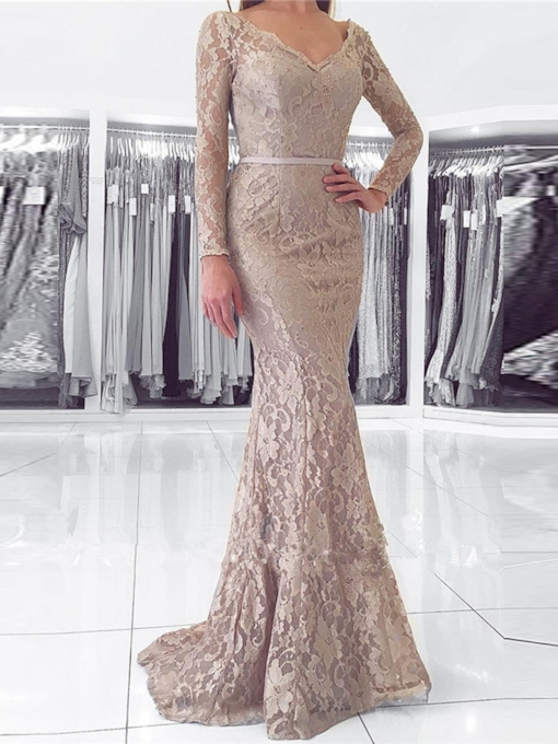 Long Sleeves Trumpet Button Lace Evening Dress