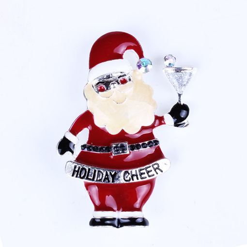 Snowman Santa Claus Alloy Rhinestone Christmas Women's Brooches