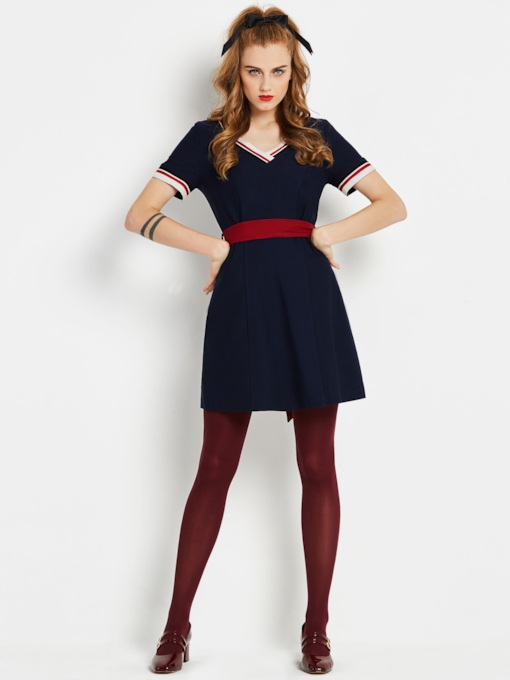 Dark Blue Short Sleeve Lace up Women's Day Dress