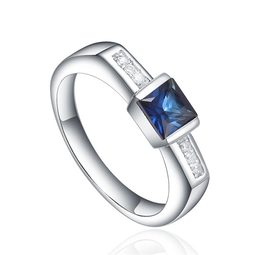 Princess Cut Blue Zircon Inlaid Diamante Geometric Ring