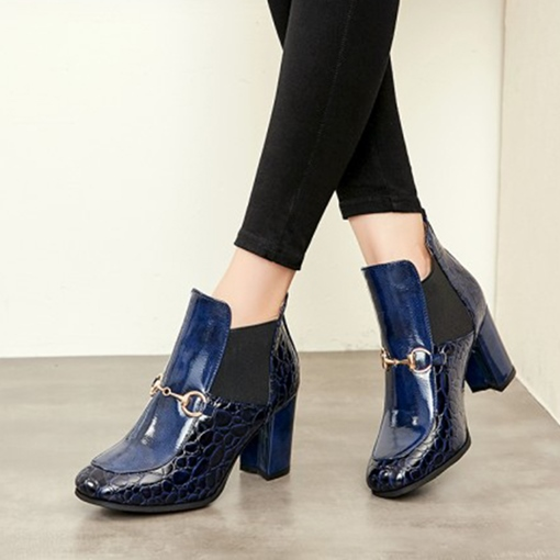 Stone Pattern Patent Leather Chunky Heel Boots for Women