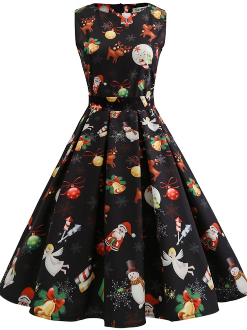 Sleeveless Reindeer Pattern Women's Day Dress
