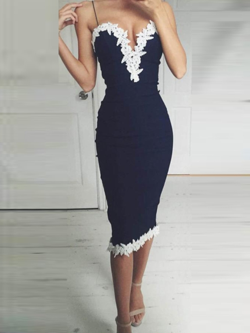Sheath Spaghetti Straps Appliques Tea-Length Cocktail Dress