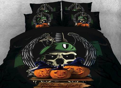 Halloween Pumpkin and Skull Printed 3D 4-Piece Bedding Sets/Duvet Covers