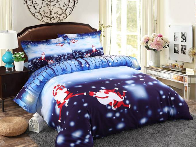 3D Christmas Monkey Santa Snowflake Cotton Bedding Sets/Duvet Covers