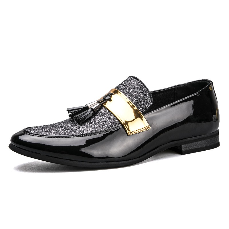 Fringe Slip On Mens Patent Leather Shoes