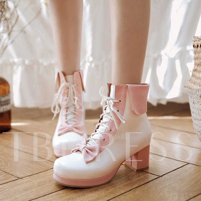 Plus Size Shoes Lace Up Chunky Heel Bow Cute Boots for Women