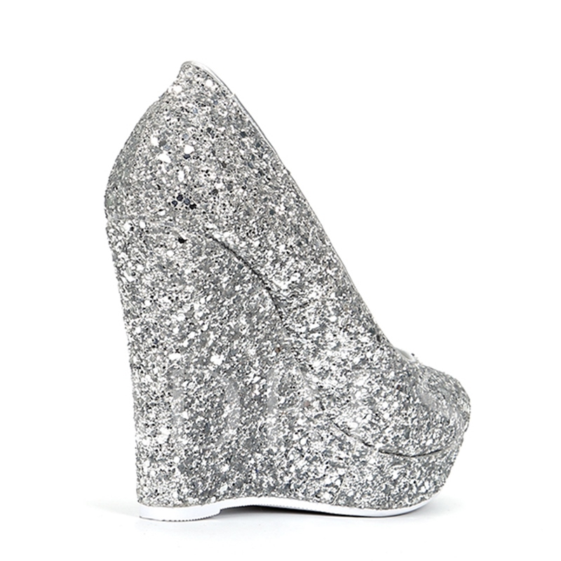 (Plus Size Available) Wedge Heel Glitter Wedding Shoes for Bridal