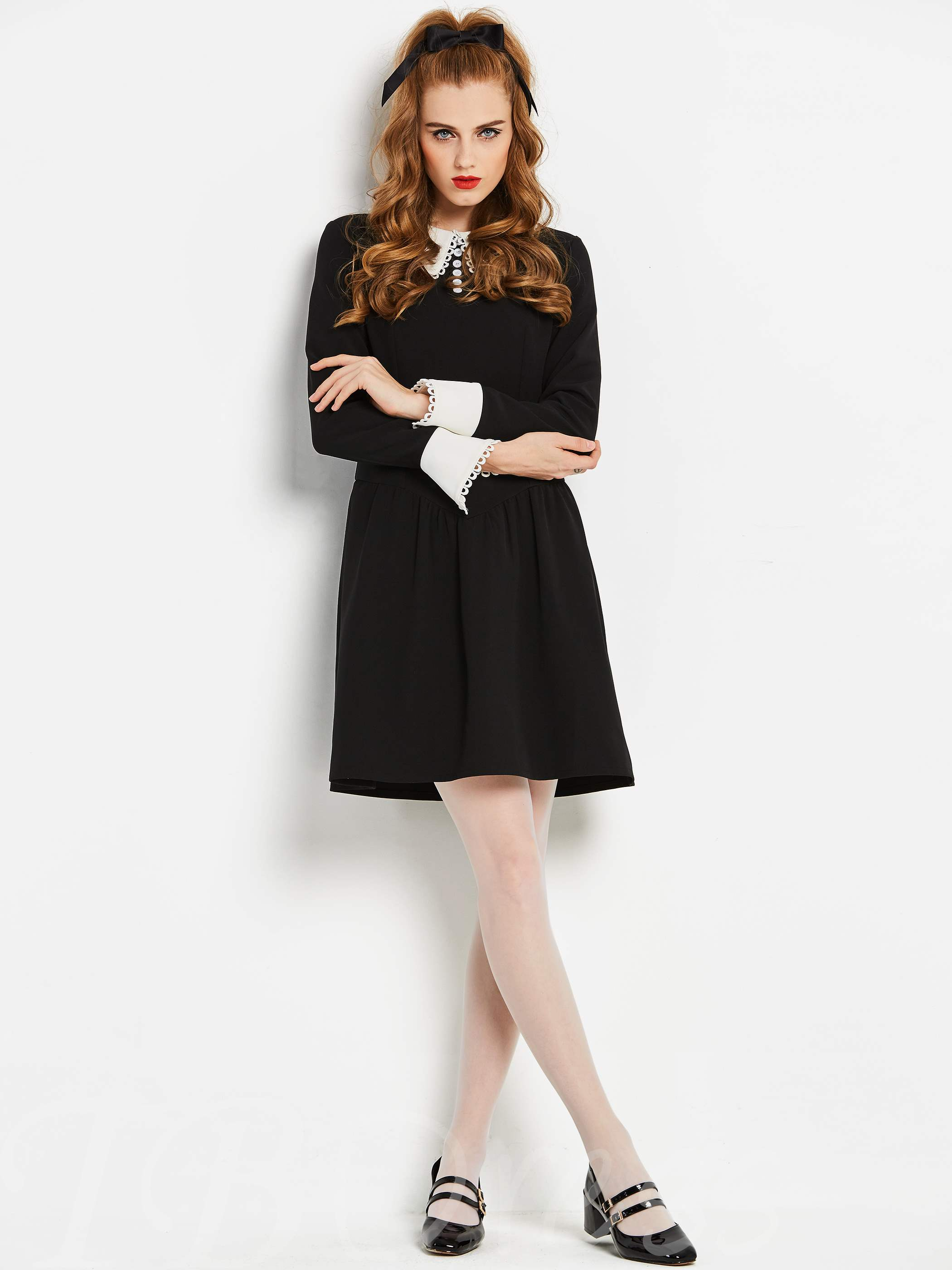 Black Peter Pan Collar Women S Long Sleeve Dress Tbdress Com