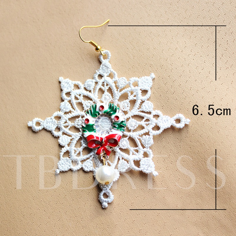 Christmas White Hollow Out Bowknot Alloy Imitation Pearl Earrings
