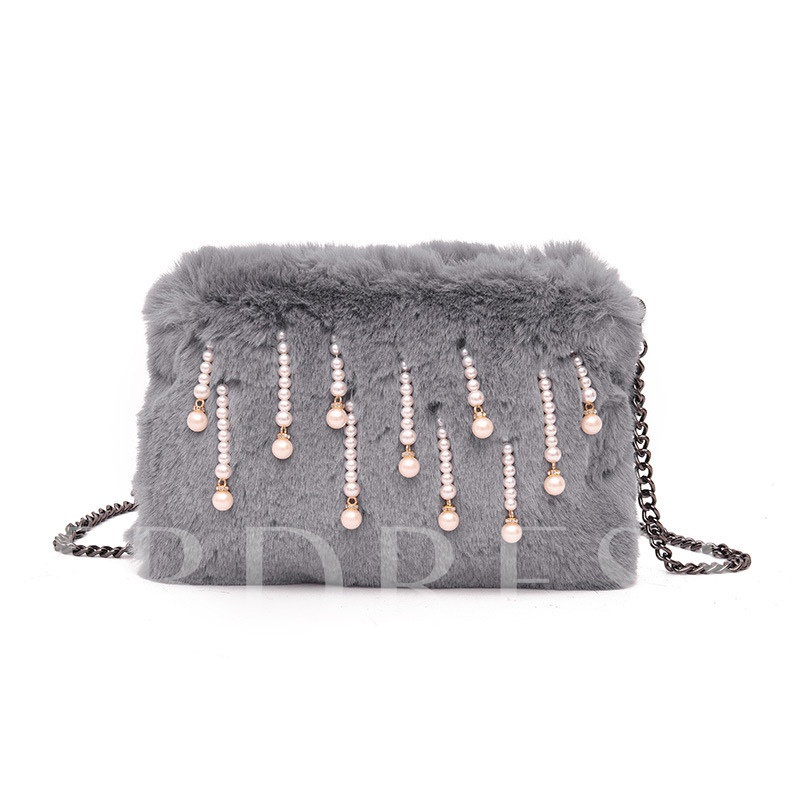 Korean Style Pearl Decoration Plush Cross Body Bag