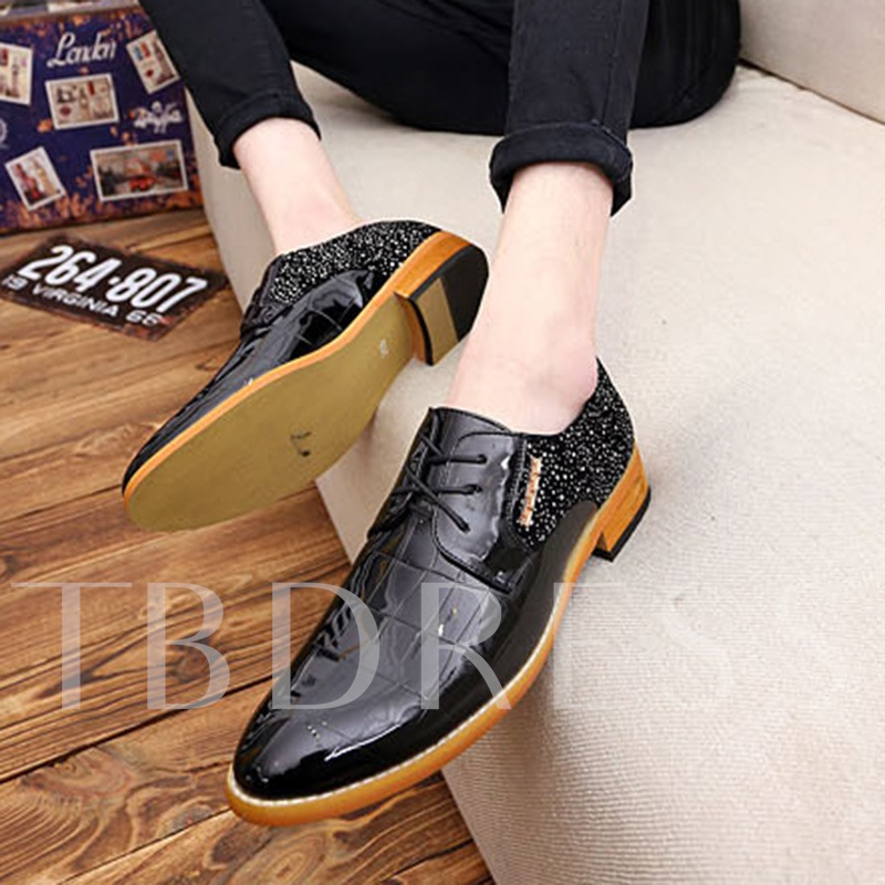 Patchwork Rhinestone Patent Leather Men's Pointed Toe Shoes for Formal Occasions