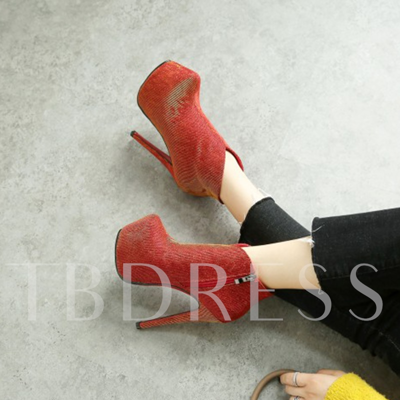 Plus Size Shoes Zipper High Heel Platform Women's Cloth Boots