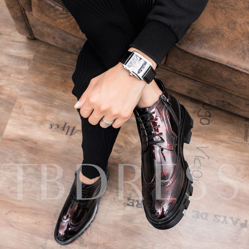 Side Zipper Hollow Patent Leather Men's Ankle Boots