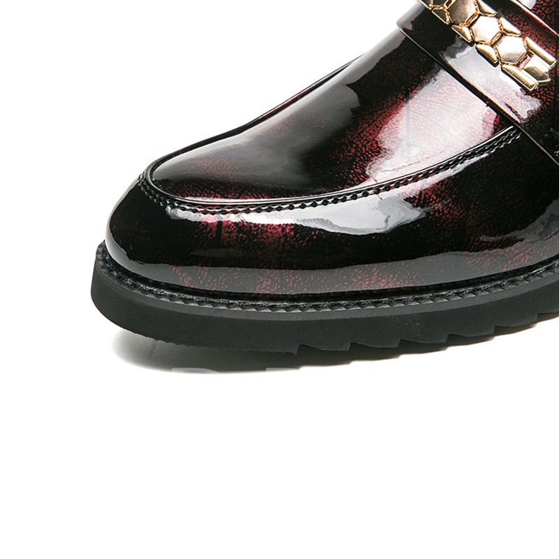 Sequin Slip On Patent Leather Professional Shoes for Men