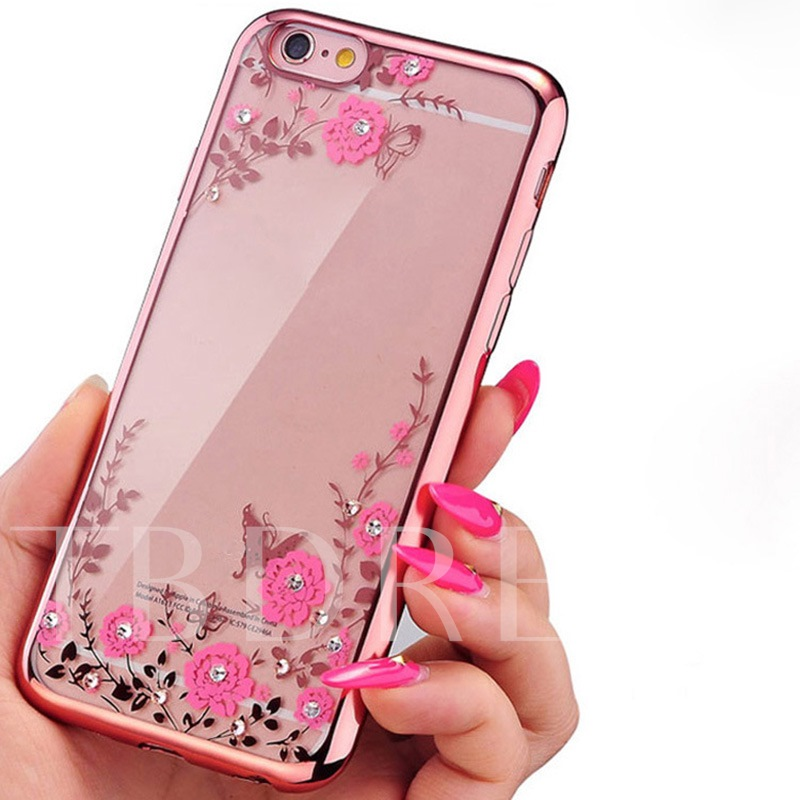 iPhone X/8 Galaxy S8/S8 Plus Case,Floral Pattern Phone Shell with Jewel