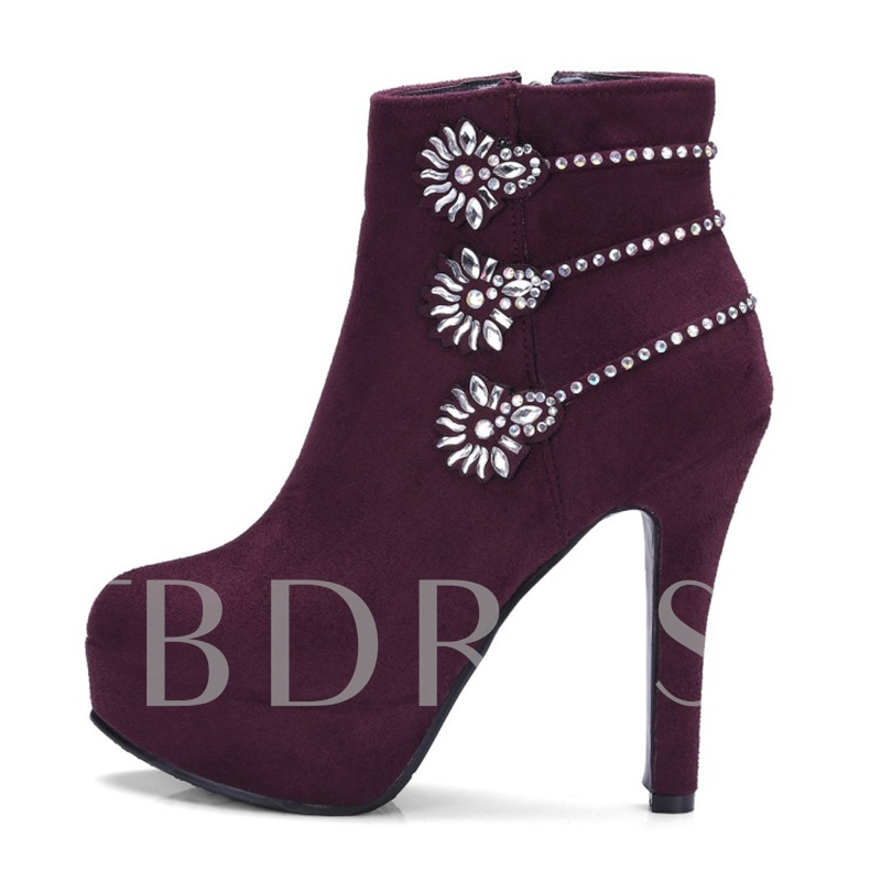 (Plus Size Available)Rhinestone Floral Thick Heel Women's Platform Boots