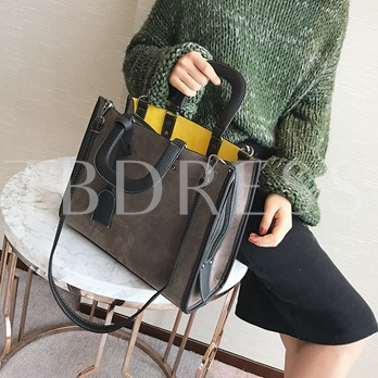 Occident Style Solid Color Suede Women Tote Bag