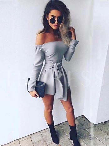 Long Sleeves Lace Up Slash Neck Women's Rompers