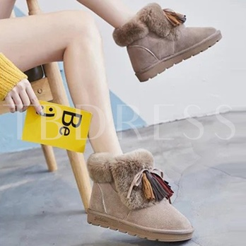 Colorful Fringe Bow Plush Snow Boots for Women