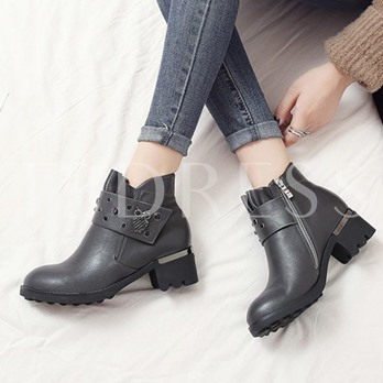 Plus Size Shoes Ruffle Owl Shaped Rivet Ankle Boots for Women