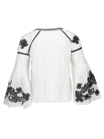 Flare Sleeve Floral Embroideried Women's Blouse