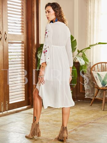Embroidery White Asym Women's Day Dress