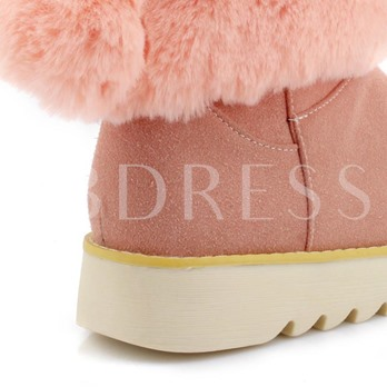 Bunny Ears Short Floss Plush Women's Flat With Snow Boots